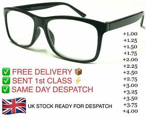 Black Trendy Reading Glasses Unisex Mens Ladies Nerd Retro Geek Cheap Big Lens