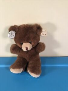 """Vintage Russ Berrie Teddy Bear Caress Soft Pets Dark Brown Tags Attached! 7"""""""