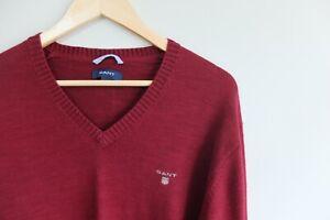 GANT Cotton knit jumper | L | Burgundy Red VGC  V-neck Knitwear