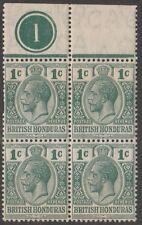 KAPPYSSTAMPS (S137) British Honduras Sc #75 MNH Green NEVER HINGED BLOCK