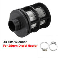 25mm Air Intake Filter Silencer & 2 Clips For Diesel Heater Webasto Eberspacher