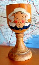Egg Cup with Artist Hand Painted Dutch Woman Wood Carved Vintage Folk Art