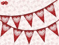 I Love You in Heart Valentines Day Themed Bunting Banner 15 flags by PARTY DECOR