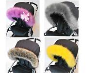 Pram fur Hood trim  fit  Bugaboo Silver sross all models pushchair Custom made