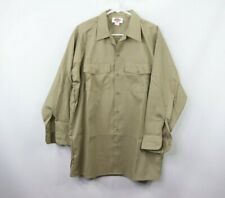 Vintage 90s Dickies Mens 16-16.5 32 Long Sleeve Mechanic Work Shirt Khaki USA