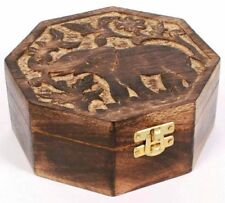 Octagonal Mango Wood Jewellery / Trinket Storage Box Elephant Hand-Carved Lid