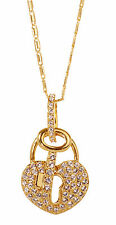 Swarovski Elements Crystal Tasha Heart Lock & Key Pendant Necklace Gold 7207x