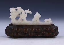 A CHINESE ANTIQUE NEPHRITE WHITE JADE CARVING, QING DYNASTY