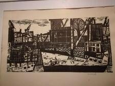 Diether Kressel. Am Kai. Holzschnitt 1959.