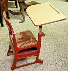 ANTIQUE METAL KIDS SCHOOL DESK WITH CHAIR