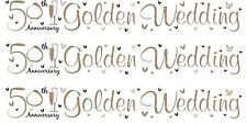 50TH GOLDEN WEDDING ANNIVERSARY WHITE AND GOLDEN FOIL BANNERS (SE)