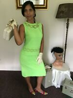 "60's Vintage Lime Green Knit Mod Sheath Skirt Top Set ""NWT"""