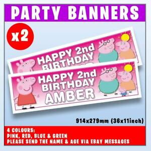 """2x PERSONALISED PEPPA PIG BANNERS BIRTHDAY PARTY - ANY NAME, ANY AGE, 36x11"""""""