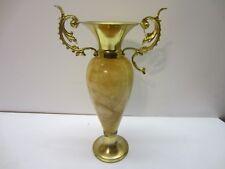 Vtg Marble Ornate Urn Greek Bud Vase Handles Trophy