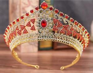 King Queen Crystal Rhinestone Crown Tiara Wedding Pageant Bridal Diamante Red