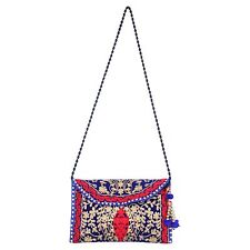 BG-60A Embroidery Cotton Clutch Purse Long Strap