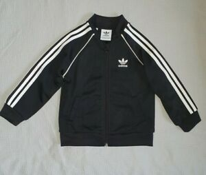 Baby Black Adidas Tracksuit Top Age 12-18 Months Authentic Good Condition
