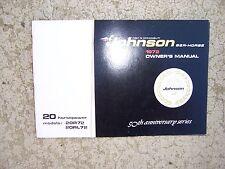 1972 Johnson 20 HP Sea Horse Outboard Motor Owner Manual Model 20R72 20RL72  S