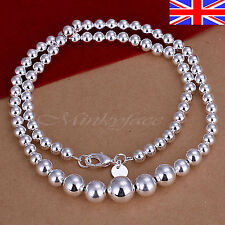 "925 Sterling Silver plt Ball Bead Necklace Graduated 18"" 925 Free Gift Bag"