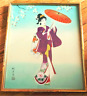 Japanese Framed Painting 1950s Silk Lady