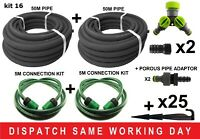 2X 50M - POROUS PIPE, SOAKER HOSE, LEAKY PIPE & ACCESSORIES WATERING KIT-16