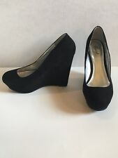 Black Wedge Heels Suede Shoes Size 9 Comfortable Footwear Platform Booties