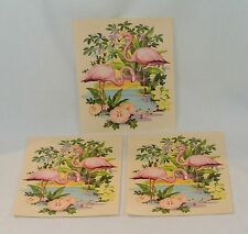 Vintage Pink FLAMINGO Medium 8 inch DECAL Liberty Company SET OF 3