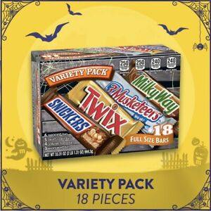 Snickers Twix Milky Way & 3 Musketeers 18 Full Sized Bars Halloween Candy