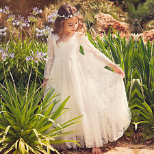 Girls lace Dress Flower Princess trumpet Sleeve Formal Party Wedding Bridesmaid