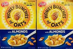 2 Boxes Honey Bunches Of Oats with Almonds Cereal ~ FAST FREE SHIPPING ! ~