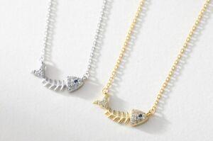 "Fashion Women Cubic Zircon Fish Bone 925 Sterling Silver Chain Necklace 15.6-18"""