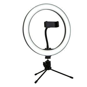 Black - White Metal 10W LED Selfie Dimmable Ring Light Phone Holder H38cm
