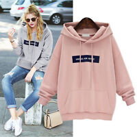 Brand New Women Black Cotton Blend Loose Hoodies Long Sleeve Sweat Shirts Jumper