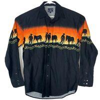Roper Men's Cowboy Print Long Sleeve Pearl Snap Western Shirt Sz Medium