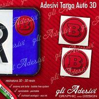 2 Adesivi Stickers bollino 3D Resinato targa Auto Moto Brabus Rosso & Nero