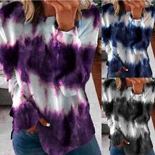 Women Tie-dye Print Casual Tops Crew Neck Tunic Long Sleeve Loose T Shirt Blouse
