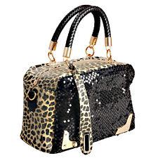 Women Lady Leopard Sequins Sling Bag Handbag Aslant Bag Cross Body Shoulder Bag