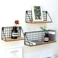 Wooden Metal Display Floating Shelves Wall Shelf Wall-Mounted Storage Rack Decor