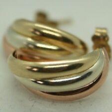 100% Genuine 9k Solid Yellow, White, Rose Gold C Half Hoop Stud Earrings. As New