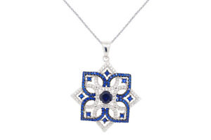 Round Cut Cubic Zirconia .925 Sterling Silver Cluster Pendant Necklace