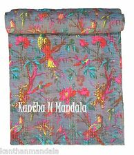 King Grey Bird Print Kantha Quilt Sari Indian Kantha Bedspread Kantha Rallies