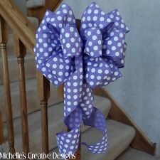 LARGE PURPLE LINEN BOW WHITE POLKA DOTS~5 YARDS WIRED RIBBON~GIFTS WREATHS DECOR