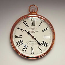 Large Copper Wall Clock Vintage Pocket Fob Watch Style