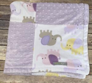 Blankets & Beyond Baby Security Lovey Patchwork Purple Minky Dot Elephant