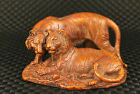 unique Chinese rare old boxwood Hand carving tiger statue home decoration gift