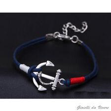 Argento ANCORA Blu cordino Braccialetto marinaio bracciale Uomo NAUTICA NAVY yvy