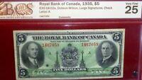 1935 $5  ROYAL BANK OF  CANADA CHARTERED BANKNOTE