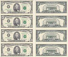 1995 $5 Bill 4 Note Uncut Sheet Boston District Original BEP Display Card