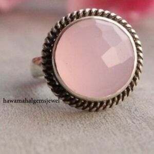 925 Faceted Rose Quartz Ring Solid Sterling Silver Rings Birth Stone Jewelry