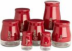 Sabichi Bright Red Biscuit jar Pasta Jar, Salt Pepper Tea Coffee Sugar Canisters
